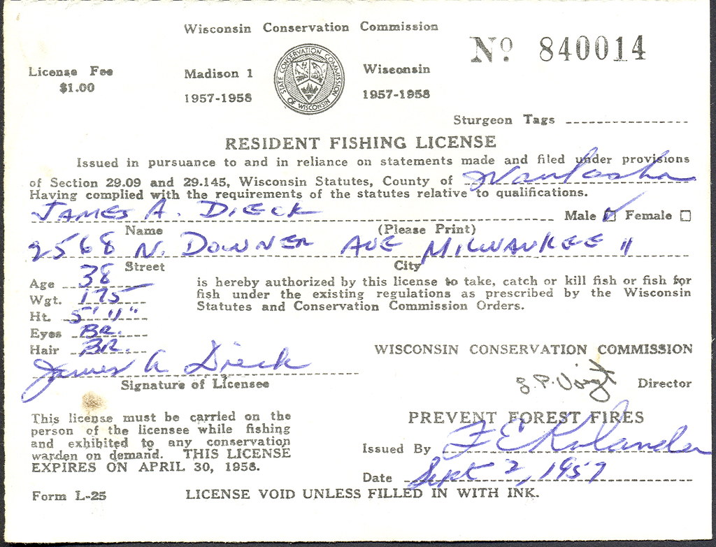 1957 wisconsin resident fishing license don the for How much is a wisconsin fishing license