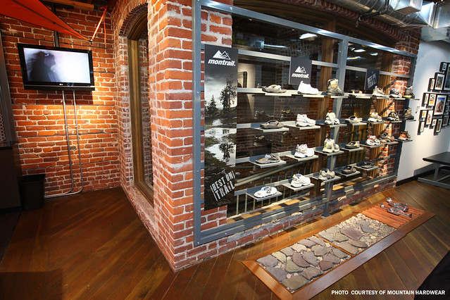 The Shoe Display The Exposed Brick In The Retail Store