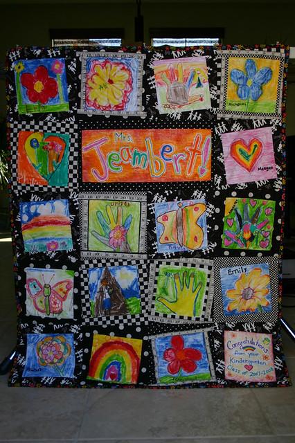 Classroom Quilt Ideas ~ Kids art quilt for teacher gift made