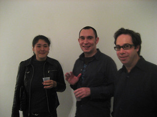 Sakurako Shimizu, Marcin Ramocki, and Aron Namenwirth at artMovingProjects opening | by hoggardb