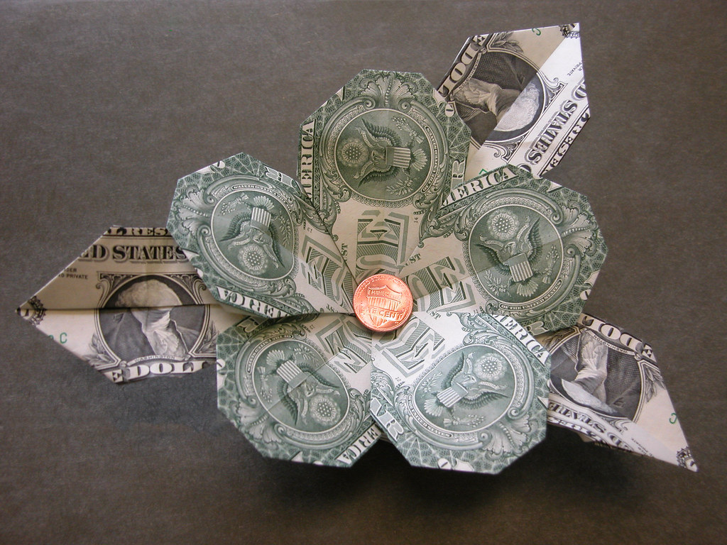 Dollar bill flower with leaves design ibolya tuzy book l flickr dollar bill flower with leaves by fj contreras mightylinksfo