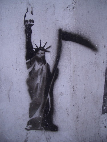 The Grim Reaper of Liberty? Artist unknown, stencil spotted in Athens, Greece | by dullhunk