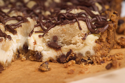 Chocolate Chip Cookie Dough Cheesecake Bars | by bakeorbreak