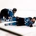Jonathan Cheechoo and Joe Thornton on the ice