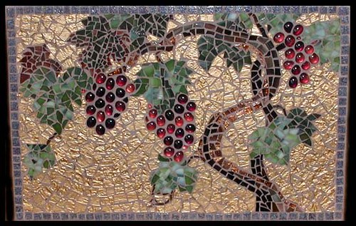 Grapevine Mosaic Hand Cut Glass In Gold Bronze And