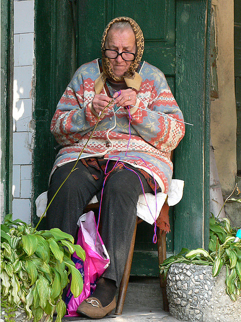 Knitting Lady At Guillotine : Old woman knitting proton flickr