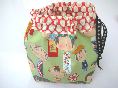 Kokeshi Dolls and Spots Project Pouch | by Hells Bells
