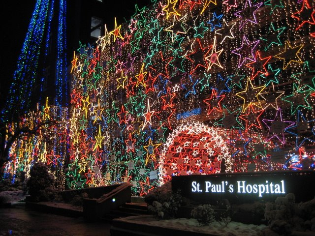 Christmas lights at St. Paul's Hospital