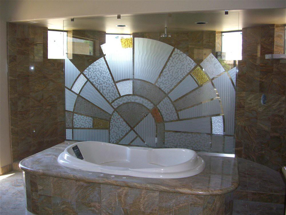 ... Matrix Glass Partition   Tub U0026 Shower Panel   Etched Decorative Art  Glass Matrix Divider |