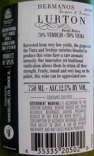 Hermanos Jacques & Franceis Lurton 2006 Verdejo, Viura (back) | by 2 Guys Uncorked