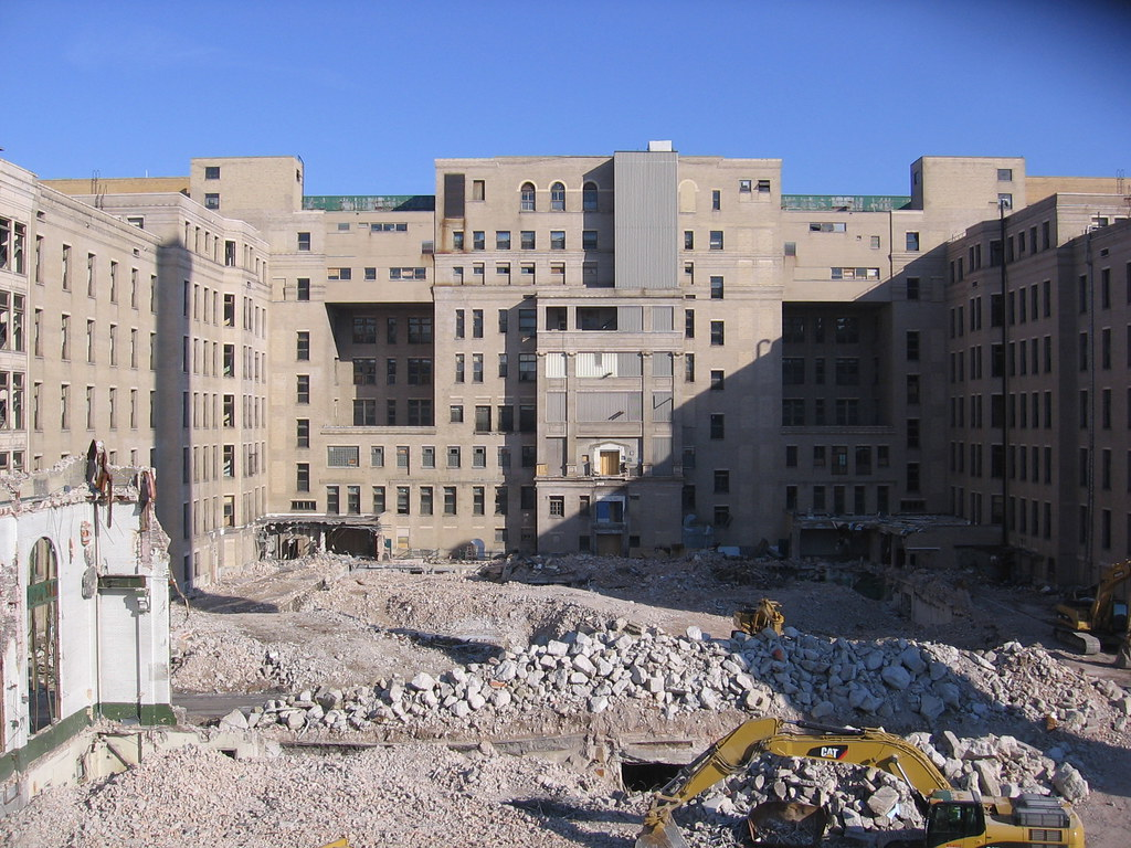 Cook County Hospital demolition | The main building still ...
