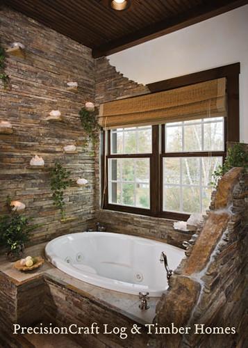 Master bathroom custom hybrid log timber home precis for Custom master bath