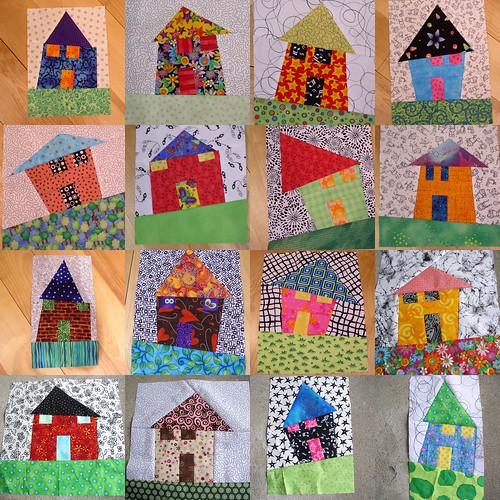 More wonky houses i can 39 t stop making these lots of fun for Modern house quilt block