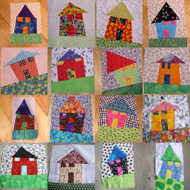 More wonky houses i can 39 t stop making these lots of fun for Modern house quilt pattern