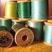 Spools of vintage thread: greens