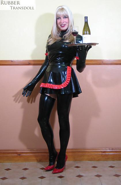 Latex sissy maid