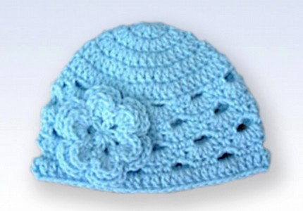 Crochet Beanie Hat Cap With Flower Baby Blue Handmade Cr Flickr