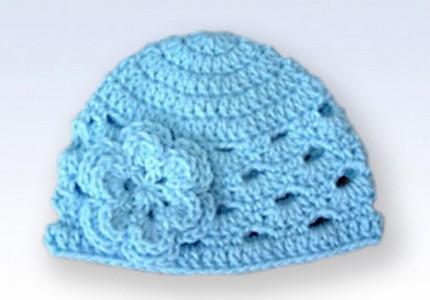 Crochet Beanie Hat Cap With Flower - Baby Blue | Handmade cr… | Flickr