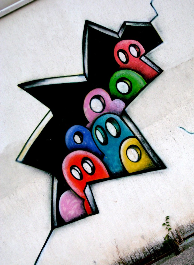 Street Art Character Design : Graffiti painted on the wall of a school