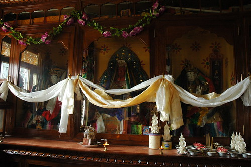 shrines with diety statues white tara offerings white s flickr. Black Bedroom Furniture Sets. Home Design Ideas