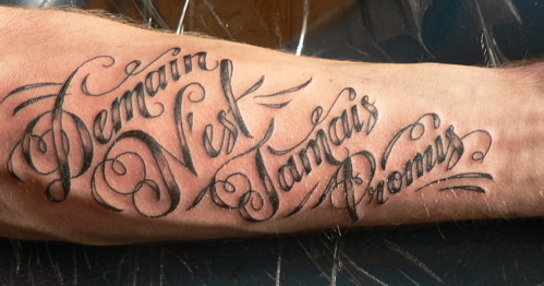 French script tattoo by sam rulz for Tattoo forearm writing