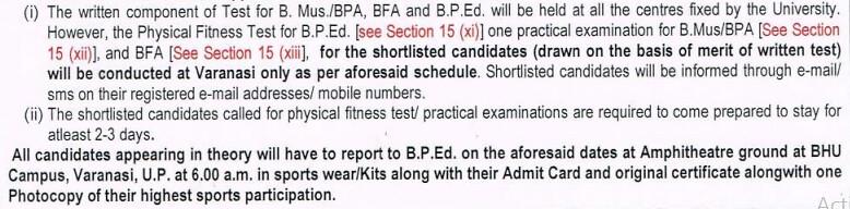 BHU BFA Practical Exam Schedule