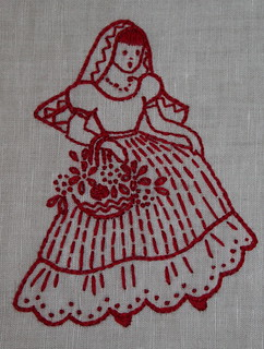 redwork embroidery mexicana, senorita with flowers, mom's gift | by *mia*