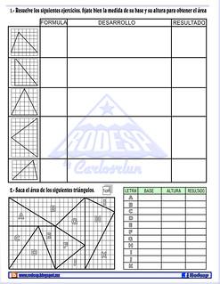 ejercicios areas de triangulos