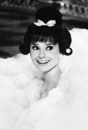 audrey hepburn in bubble bath close head 1962 audrey hepb flickr