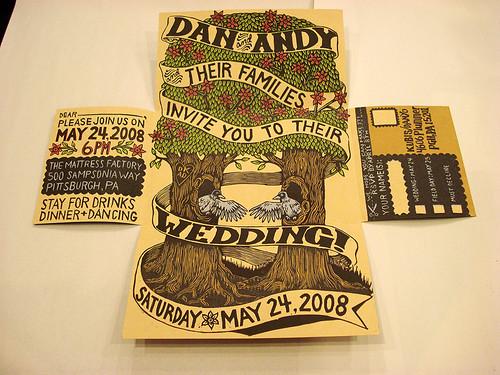 Non Traditional Wedding Invite Wording: Woodcut Wedding Invitation