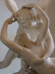 """Cupid and Psyche"" or ""Psyche revived by Cupid's kiss"" by Antonio Canova at The Louvre in Paris 