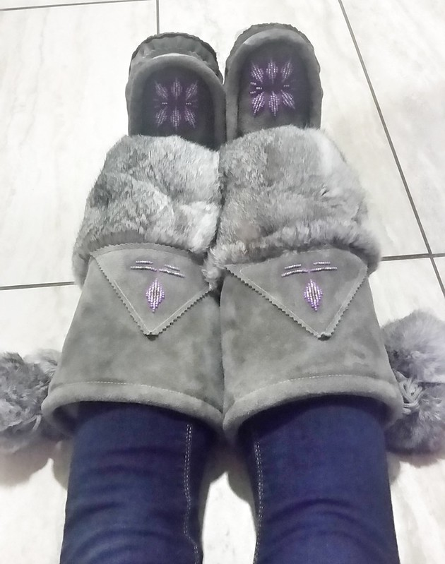 Handmade Grey Purple Mukluks