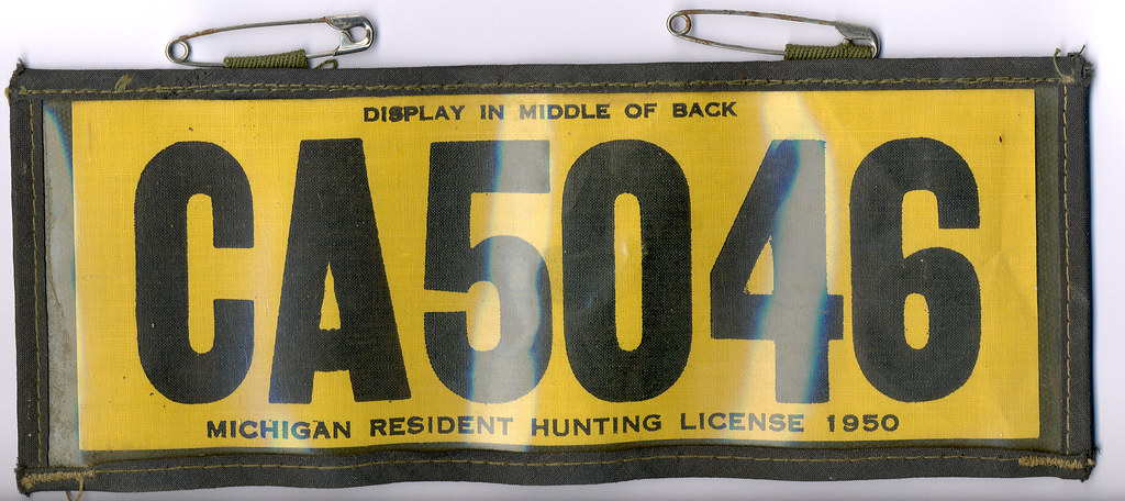 1950 michigan resident hunting license backtag don the for Michigan non resident fishing license