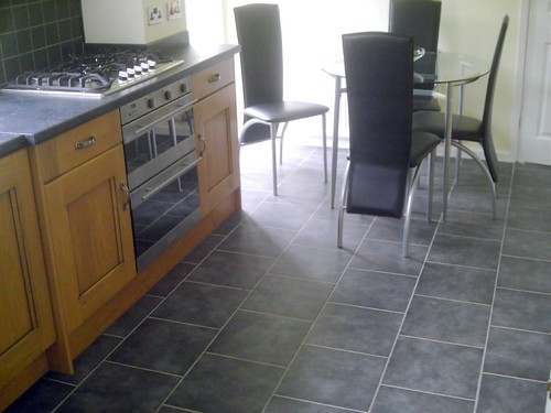 Tile brns kitchen floor wickes grey ceramic tiles laid for Grey kitchen floor tiles ideas