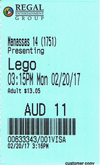 The LEGO Batman Movie ticketstub