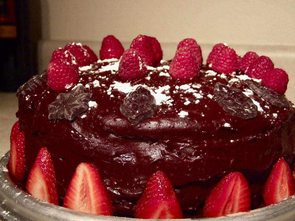 Chocolate Raspberry Ganache Wedding Cake