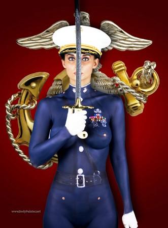 Body Paint USMC Officer Dress Blues | Centerfold model ...