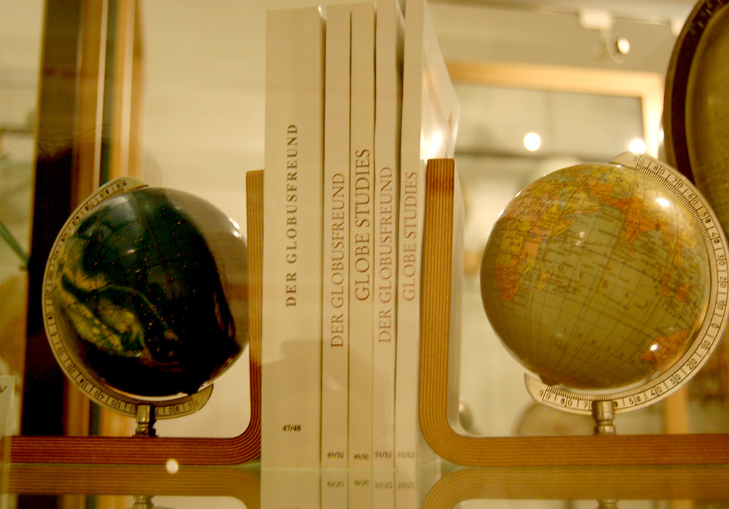 Earth Globe And Celestial Globe Bookends At The Globe
