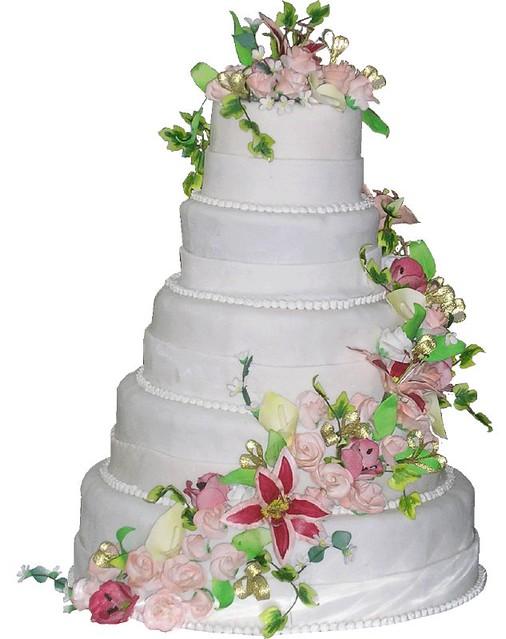 5 Tier Burgundy Amp Peach Theme Wedding Cake