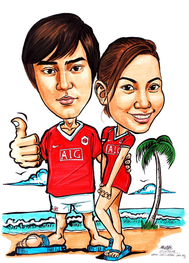 Caricatures couple ManChester United @ Beach | www.portraitw ...