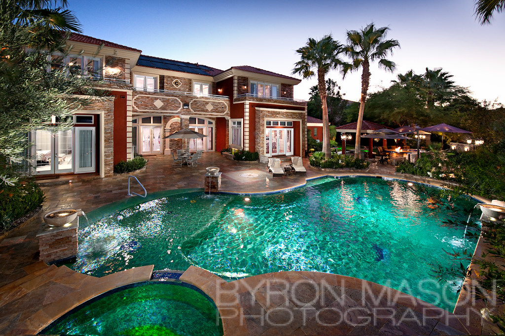 Mansion Backyard Pool   A beautiful shot of a mansion in ...