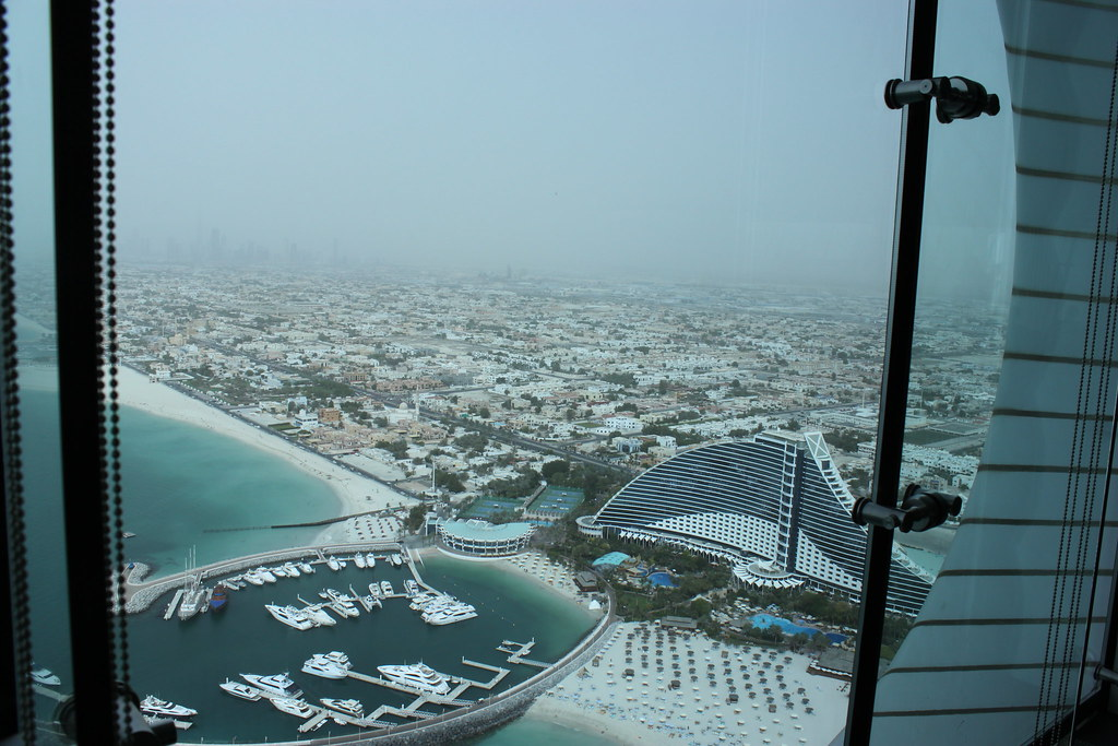 Burj al arab hotel dubai view from al muntaha restaurant for Burj al arab reservation