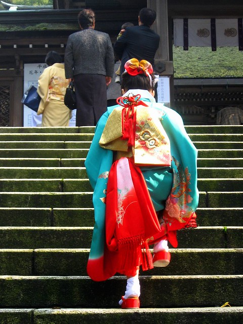 The little girl who wore a kimono in the Seven-Five-Three ...