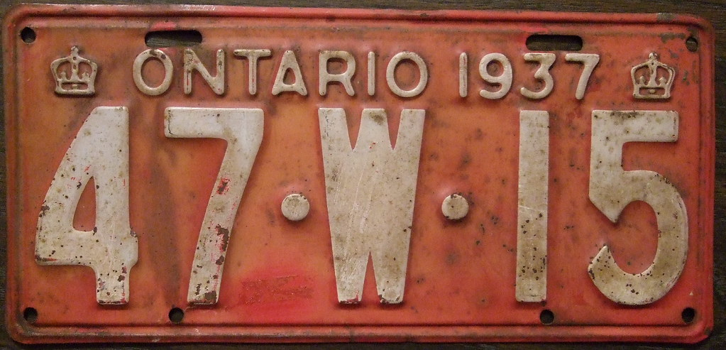 ONTARIO 1937 license plate FIRST CROWN YEAR | In 1937 two sm… | Flickr