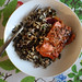 dinner: marinaded grilled salmon w wild rice salad