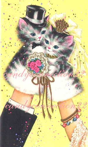 Cat Puppets Vintage Wedding Card