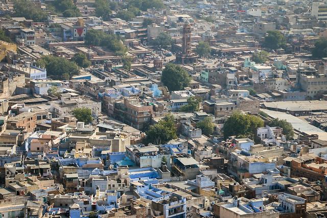 Jodhpur old city view from Mehrangarh Fort, India メヘラーンガル・フォートから見たジョードプル旧市街