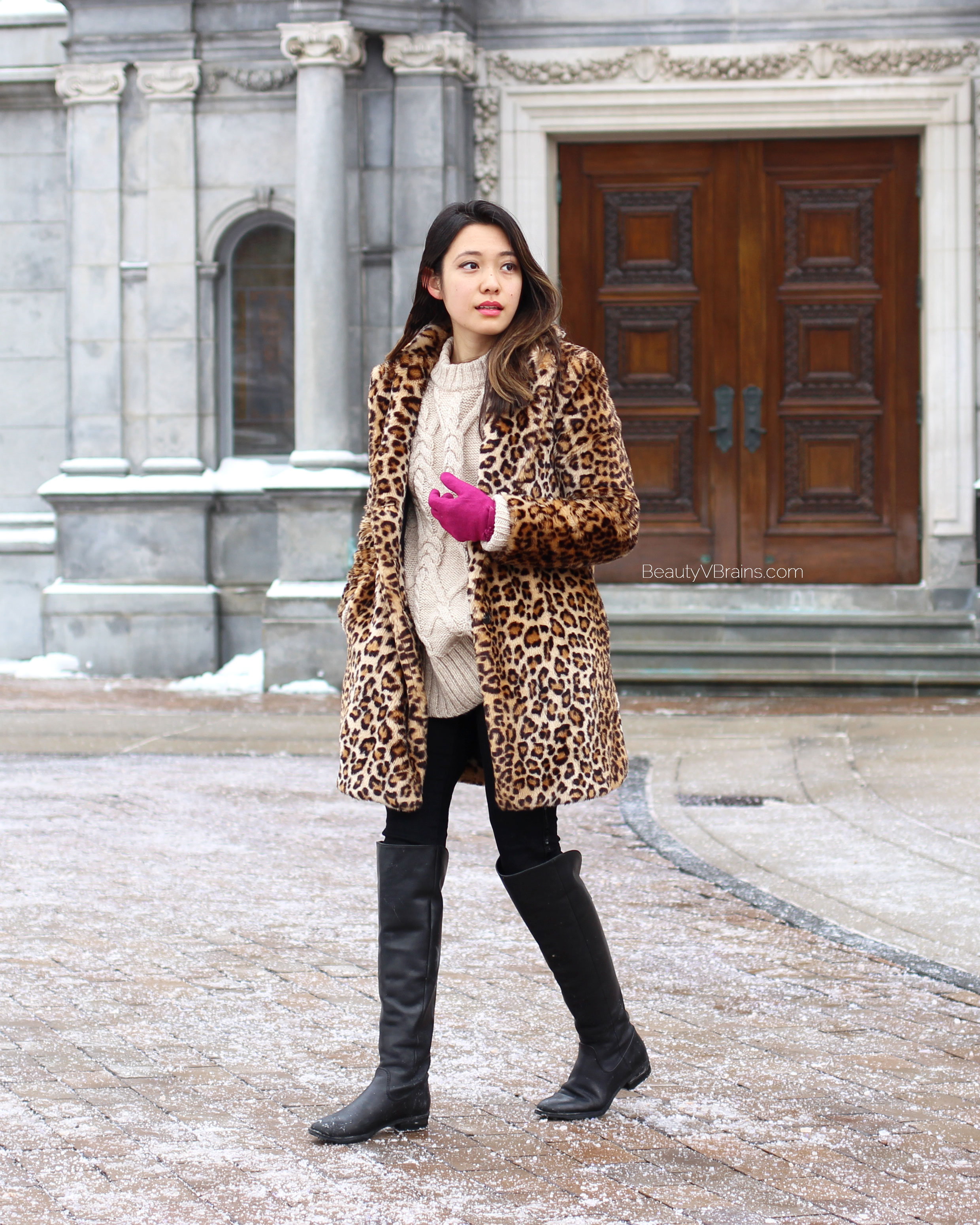 Leopard coat and black leather over the knee boots