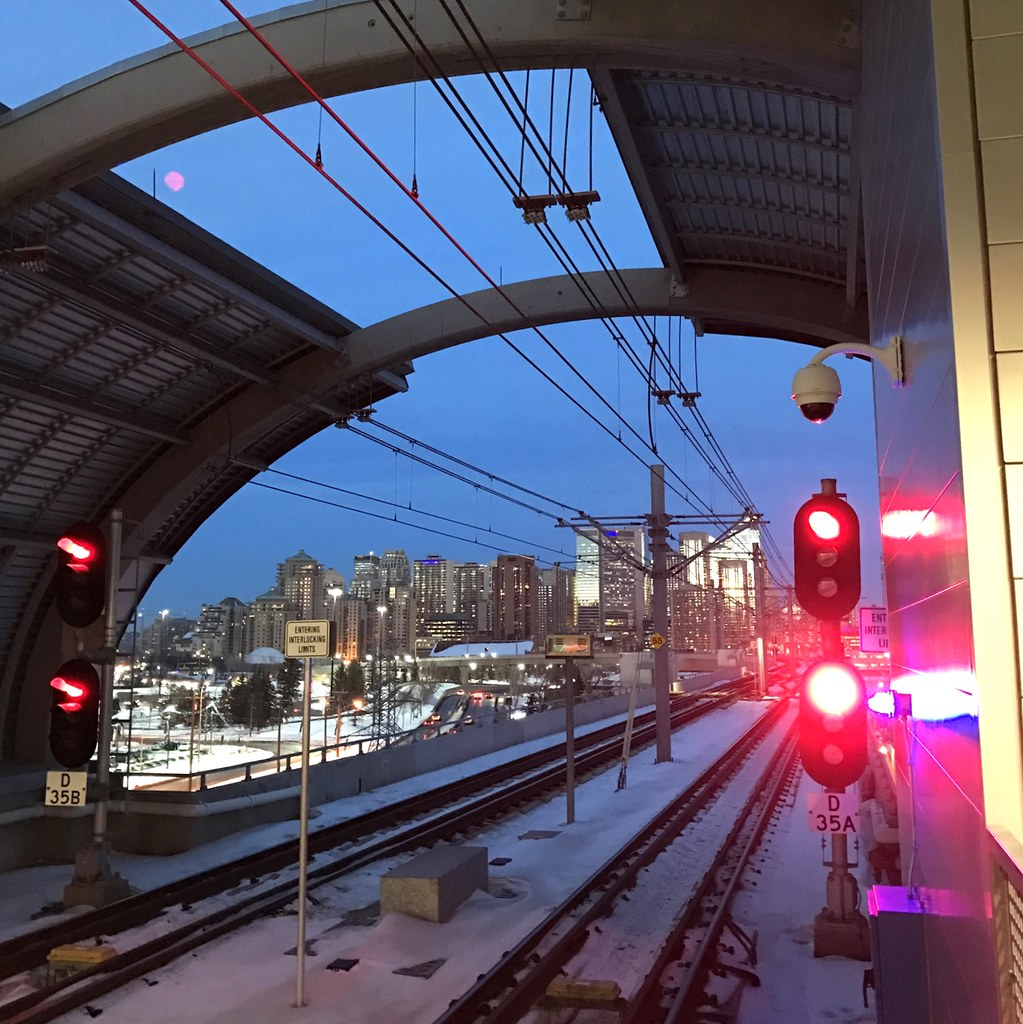 Red signals, Sunalta CTrain station, Calgary