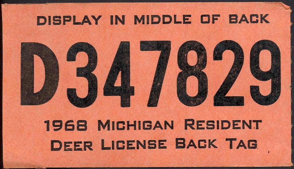 1968 michigan resident hunting license backtag 2 don for Fishing license michigan